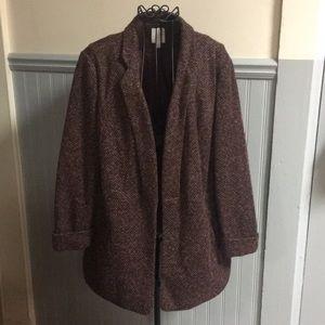 LC Lauren Conrad Maroon Knit Blazer